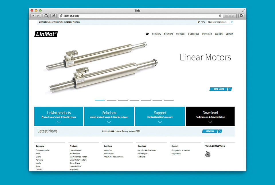 We designed and developed brand new website for LinMot Swiss