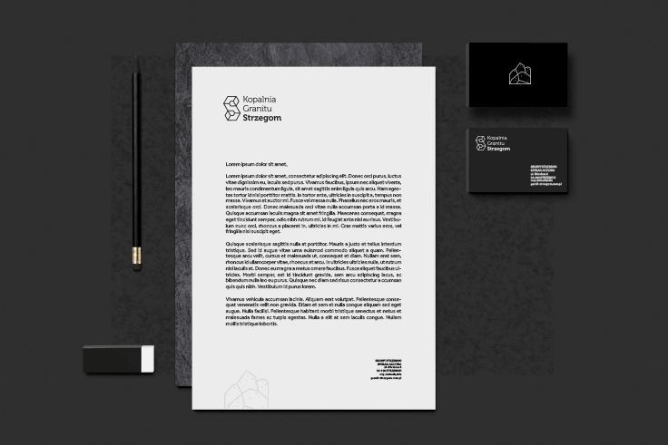 Projekt wizytówek, papieru firmowego, ołówka i gumki - całość dla Kopalni Strzegom