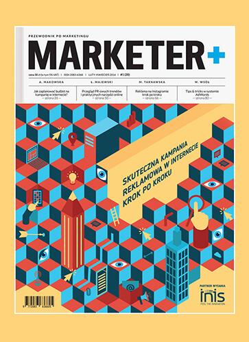 Projekt okładki i rozkładówki kwartalnika Marketer+