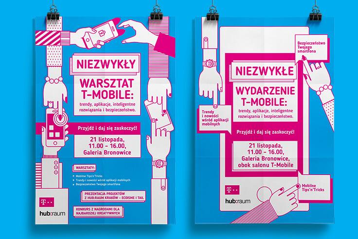 Plakat - identyfikacja Wizualna dla wydarzenie dla T-Mobile organizowanego przez Hubraum Kraków