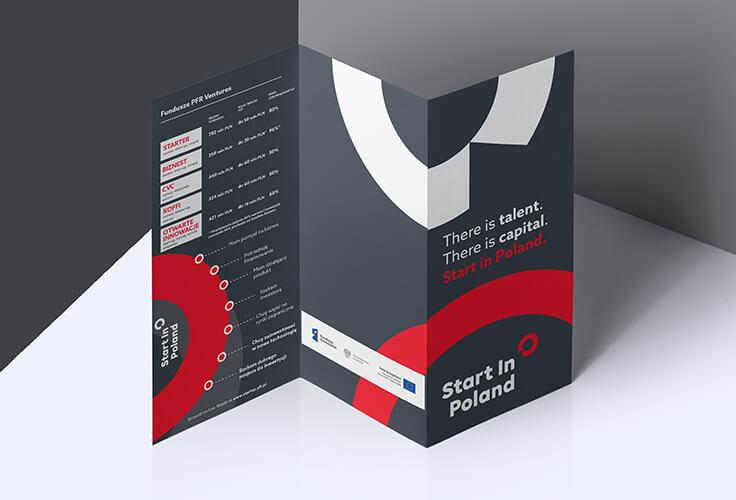 Projekt ulotki dotyczącej programu Start in Poland