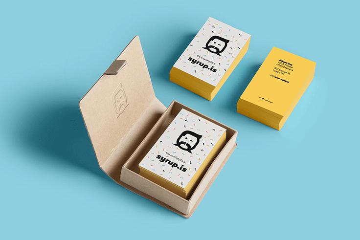 Projekt wizytówek dla Syrup.is Marketplace