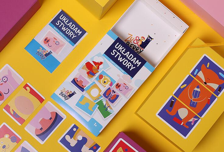 Gra Układam Stwory - pudeko i karty z naszymi ilustracjami