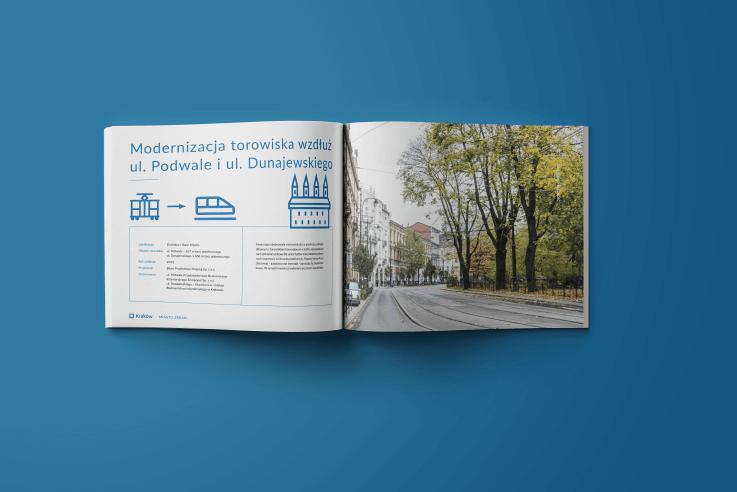 Rozkładówka albumu zaprojektowanego dla Urzędu Miasta Krakowa